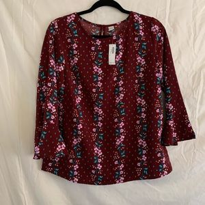 Old Navy Burgundy Floral Ruffle Blouse Top
